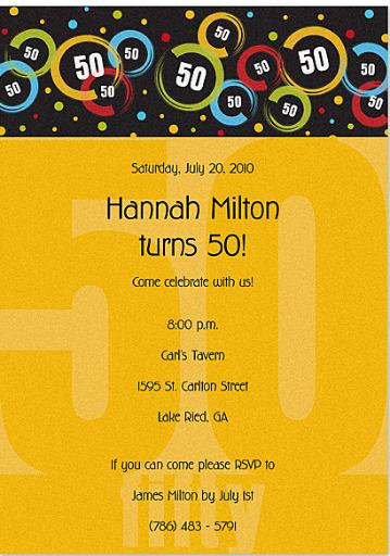 50th birthday party invitations. 50th Birthday Invitation
