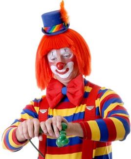 clown making balloon animal