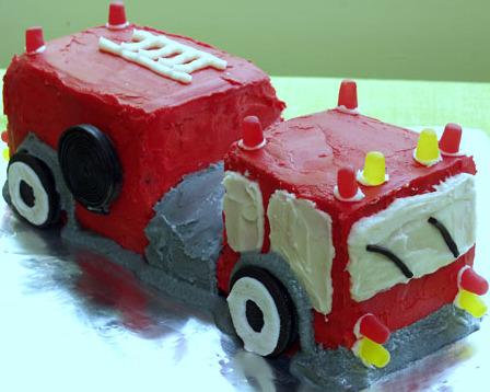 fire truck birthday cake