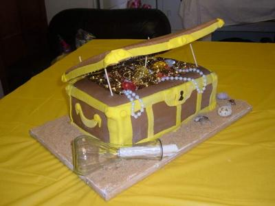Treasure chest cake with partially edible treasure!