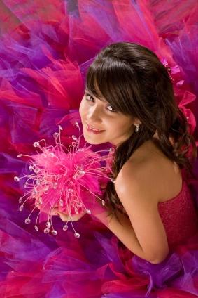 quinceanera girl hot pink