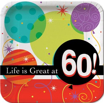 60th birthday party plate